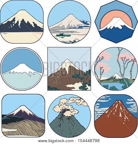 Picturesque sketches of Mount Fuji in Japan. Set of views of Mount Fuji from different sides and in all seasons.