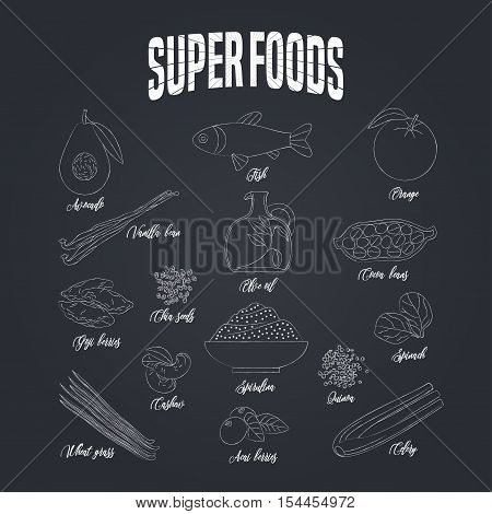 Set of superfoods products, berries, green on blackboard in vector. Icons, symbols, emblems of cocoa beans, goji berry, vanilla beans, spirulina, avocado for super food nutrition vegetarian concept