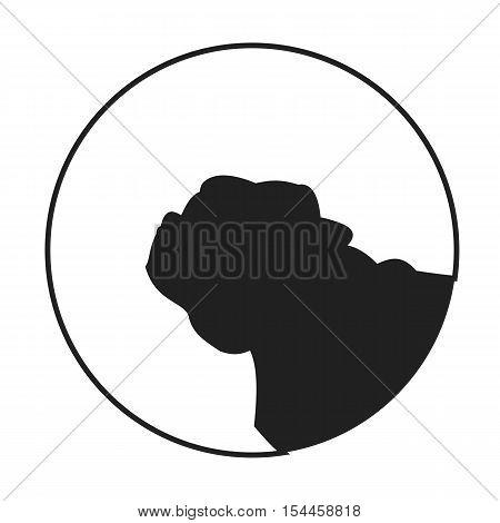 Silhouette of a dog head pug. Lovely companion animal, vector illustration