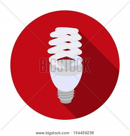 Fluorescent lightbulb icon in flat style isolated on white background. Light source symbol vector illustration