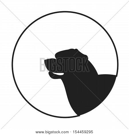 Silhouette of a dog head rottweiler. Friendly pedigree doggy. Vector illustration
