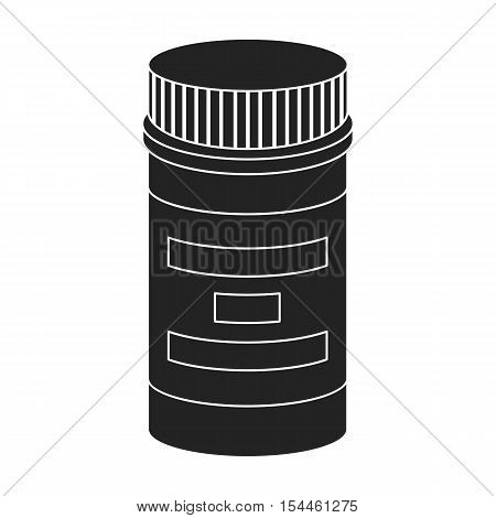 Prescription bottle icon in black style isolated on white background. Drugs symbol vector illustration.
