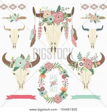 Tribal Bison Skull Floral Wreath