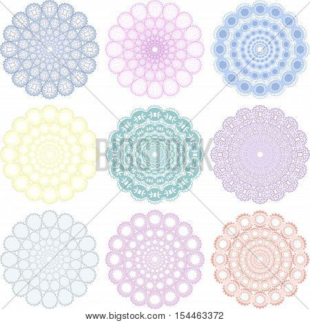 Different ornament rounds circles in ethno style, can be used as seamless geometric background pattern. Pastel colors. Vector illustration.