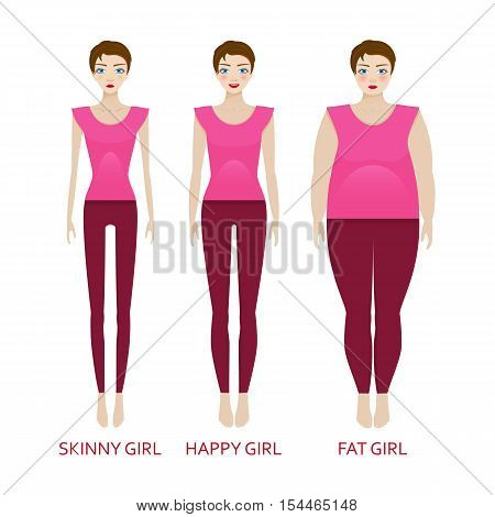 Woman in a different forms. Girl in sportrwear with excess weight, in normal shape and with underweight. Vector illustration.