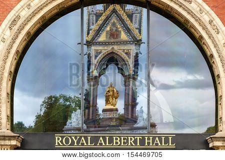 London UK - September 30, 2016 - Reflection of The Albert Memorial on Royal Albert Hall