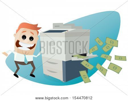 funny businessman making copies of bank notes