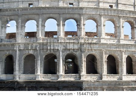 frontal view of the Colosseum the famous amphitheatre of roman epoch