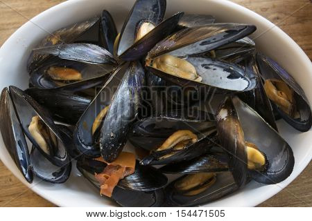 mussels soup with tomatoes hot pepper and parsley