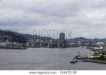 Nagasaki city skyline from Glover garden viewpoint.