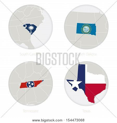 South Carolina, South Dakota, Tennessee, Texas US states map contour and national flag in a circle. Vector Illustration.