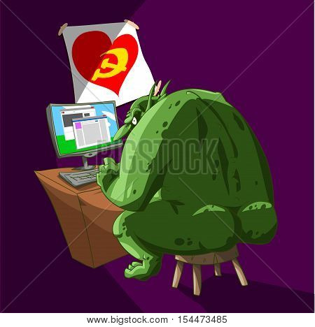 Colorful vector illustration of a fat internet Russian troll sitting infront of a computer typing rude comments and fake propaganda articles on the social media