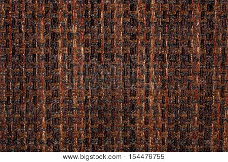 The structure of the dense coarse brown fabric.