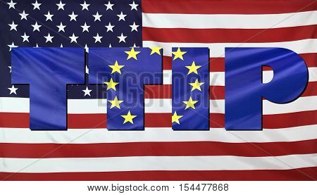 Ttip Concept Usa And Eu Flags Composition