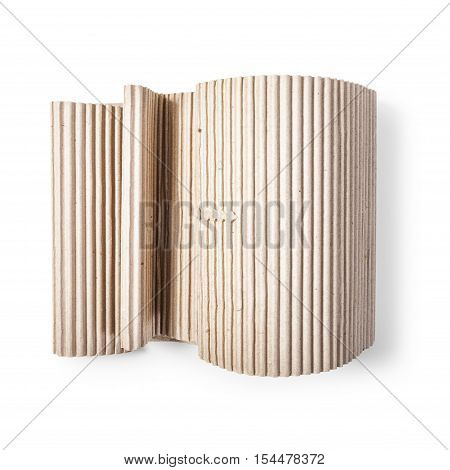 Corrugated cardboard role. Packaging material. Object isolated on white background with clipping path. Top view flat lay