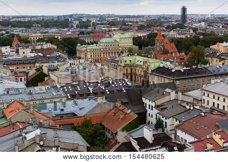 Top view on roof houses of the historical center of Krakow, Poland.