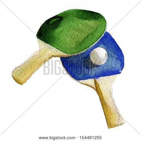 watercolor sketch ping-pong rackets and ball on white background