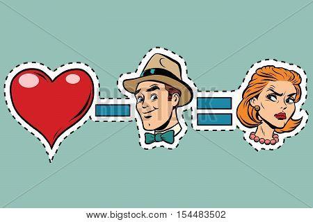 Broken heart minus man equals angry woman, pop art retro comic book vector illustration. Humorous concept ruined love. Sticker label