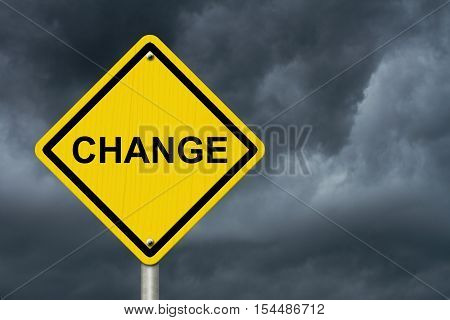Change Warning Sign Yellow warning road sign with word Change with stormy sky background 3D Illustration