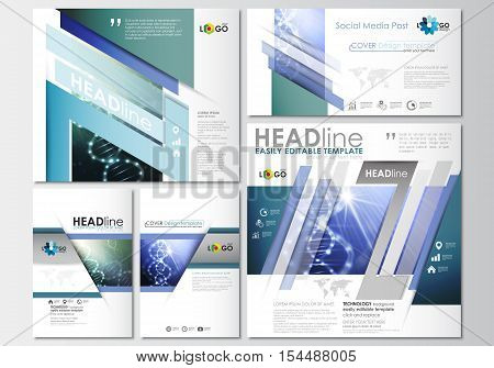 Social media posts set. Business templates. Cover design template, easy editable, abstract flat layouts in popular formats. DNA molecule structure, science background. Scientific research, medical technology.