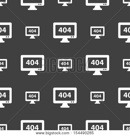 404 Not Found Error Icon Sign. Seamless Pattern On A Gray Background. Vector