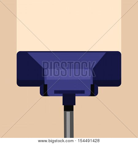 Carpet cleaning vector concept. Flat style. Vacuum cleaner cleans carpet or floor from dirt and dust. Illustration for cleaning companies and services advertising, web page design