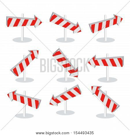 Set of direction arrow icons isolated on white. New level at something. Going in the following stage at achieving something new. Choosing the right way. Up down left right. Vector illustration