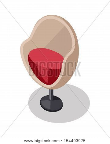 Arm chair in retro style icon. Piece of furniture. Brown and red leather seat with chrome leg. Part of the series of inner business office interior design. Seating equipment. Vector illustration