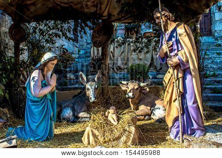 The christmas nativity scene represented with statuettes