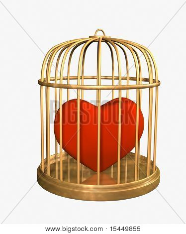 3d red velvet heart, closed in a gold cage