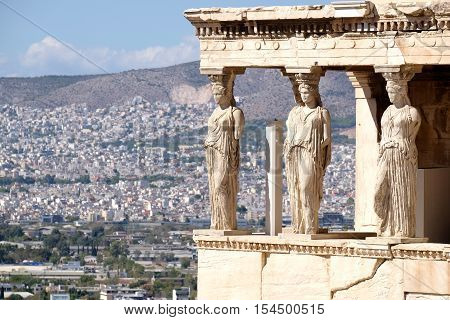 The Porch of the Caryatids at the Acropolys Athens greece