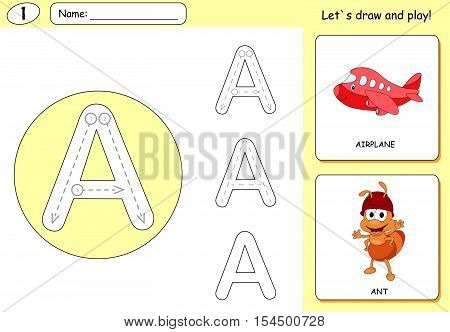 Cartoon Ant And Aircraft. Alphabet Tracing Worksheet: Writing A-z And Educational Game For Kids