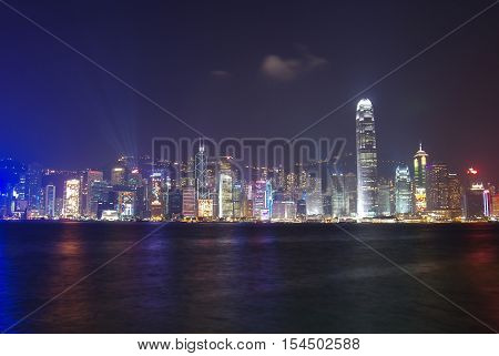 HONG KONG - FEBRUARY 23:Victoria Harbor in Hong Kong on February 23 2013 in Hong Kong. A Symphony of Lights is the spectacular light and sound show at Victoria Harbour