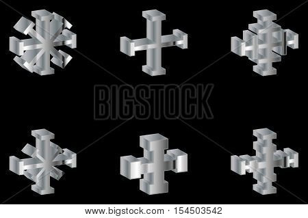 cross set , Set of crosses , Vector Cross ,