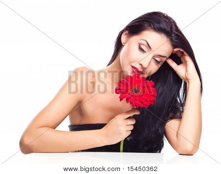 Frau mit einer Blume