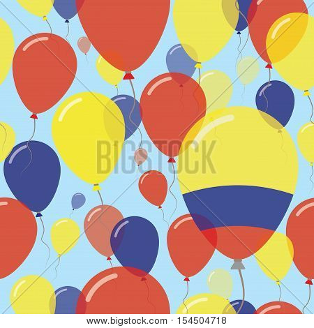 Colombia National Day Flat Seamless Pattern. Flying Celebration Balloons In Colors Of Colombian Flag