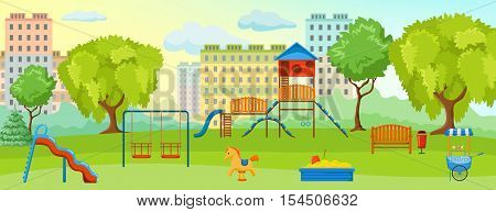 Playground at the park composition with empty playground with swings toys and green spaces vector illustration