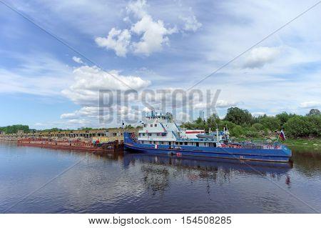 Gorodets,, Russia. - June 2.2016. Tug River Near Gateway Gorodetsky.