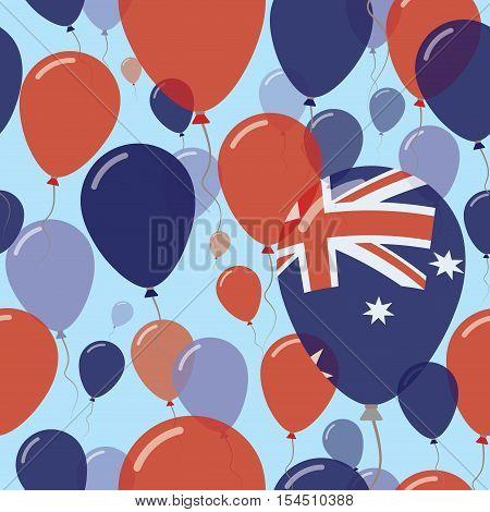 Australia National Day Flat Seamless Pattern. Flying Celebration Balloons In Colors Of Australian Fl