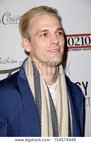 Aaron Carter arrives at the