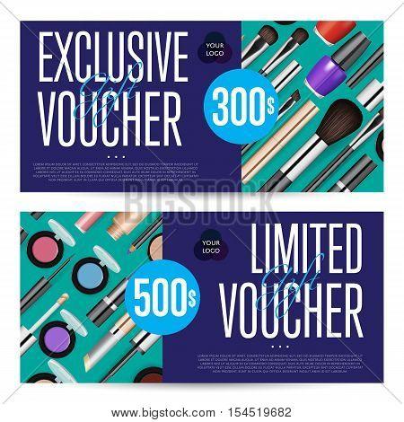 Cosmetic Voucher Template Vector Vector Photo – Discount Voucher Design