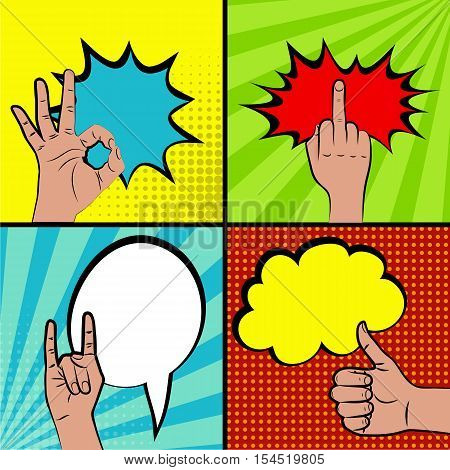 Hand signs comic retro pop art style. Gestures Set. Cartoon comic vector colored set. Halftone hand drawn finger, ok sign, thumb up, middle finger, peace. Like and dislike hand signs.