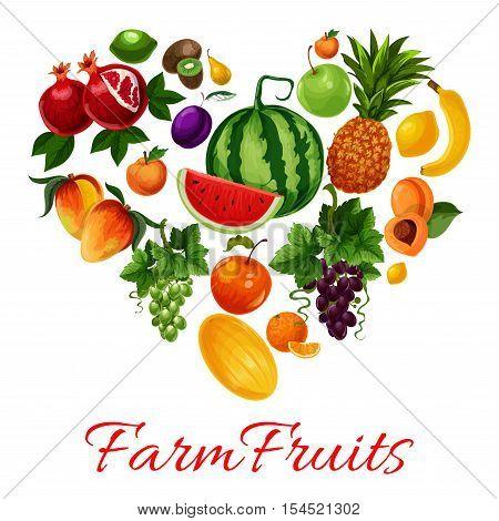 Fruits icons in heart shape. Fruit emblem of tropical and farm fruits pattern watermelon, pineapple, grape bunch, apricot, mango, melon, plum, banana, citrus lemon, lime, kiwi, pomegranate. I love fruits label for fruit products design