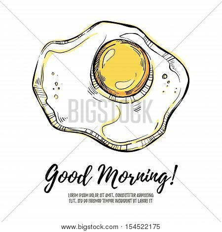 Hand Drawn Vector Illustration - Good Morning! Scrambled Eggs.