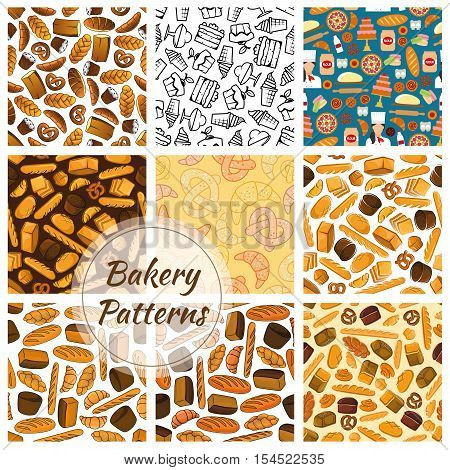Bakery bread and sweet desserts seamless patterns set. Vector sketch bread loaf, bagels, croissants, pretzel, sweet buns, muffin, cupcakes, pies for patisserie, bakery shop, pastry background design