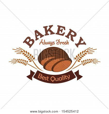 Bakery shop emblem with rye sliced bread. Best quality bread product label design. Vector icon of brown rye bread loaf sliced, rye ears, brown ribbon with text