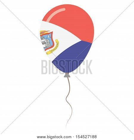 Sint Maarten National Colors Isolated Balloon On White Background. Independence Day Patriotic Poster