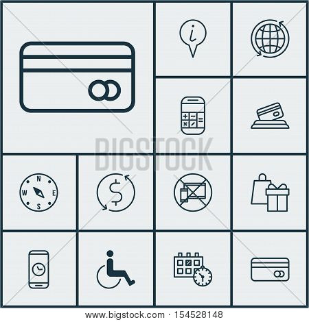 Set Of Airport Icons On Calculation, Accessibility And Appointment Topics. Editable Vector Illustrat
