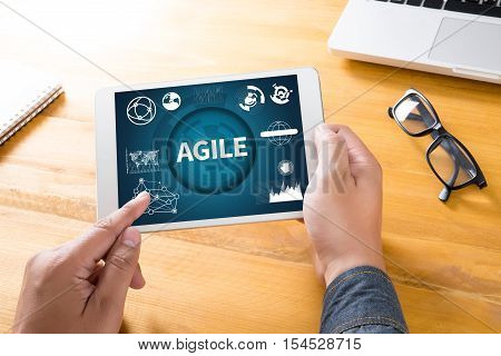 AGILE Agility Nimble Quick Fast Concept analysis, business, businessman ,attitude belief  blogging