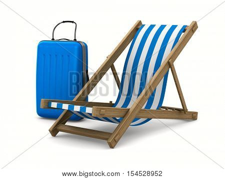 Deckchair and luggage on white background. Isolated 3D image